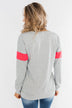Make No Mistake Long Sleeve Top- Grey & Neon Pink