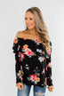 Picking Wildflowers Off The Shoulder Top- Black