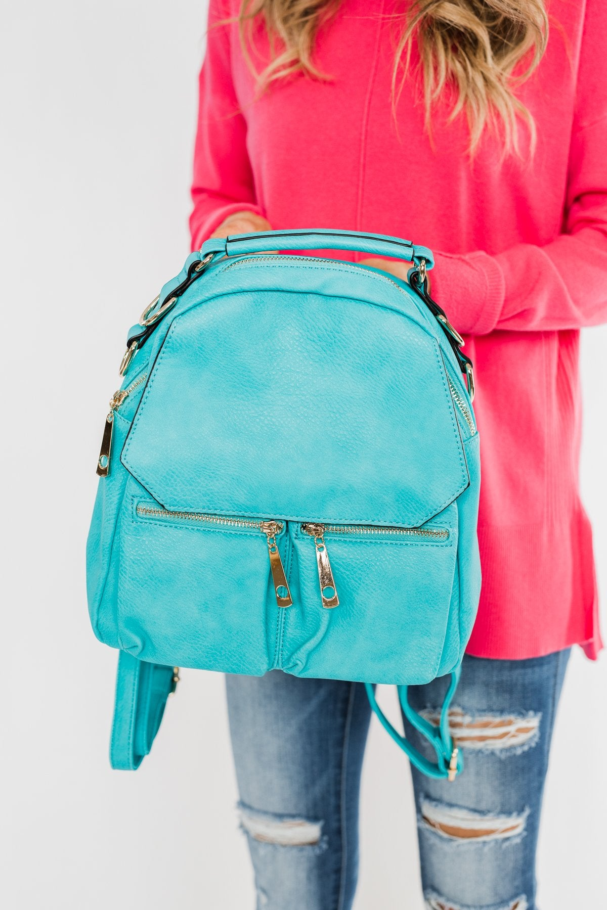 Everyday Zipper Detail Backpack- Turquoise