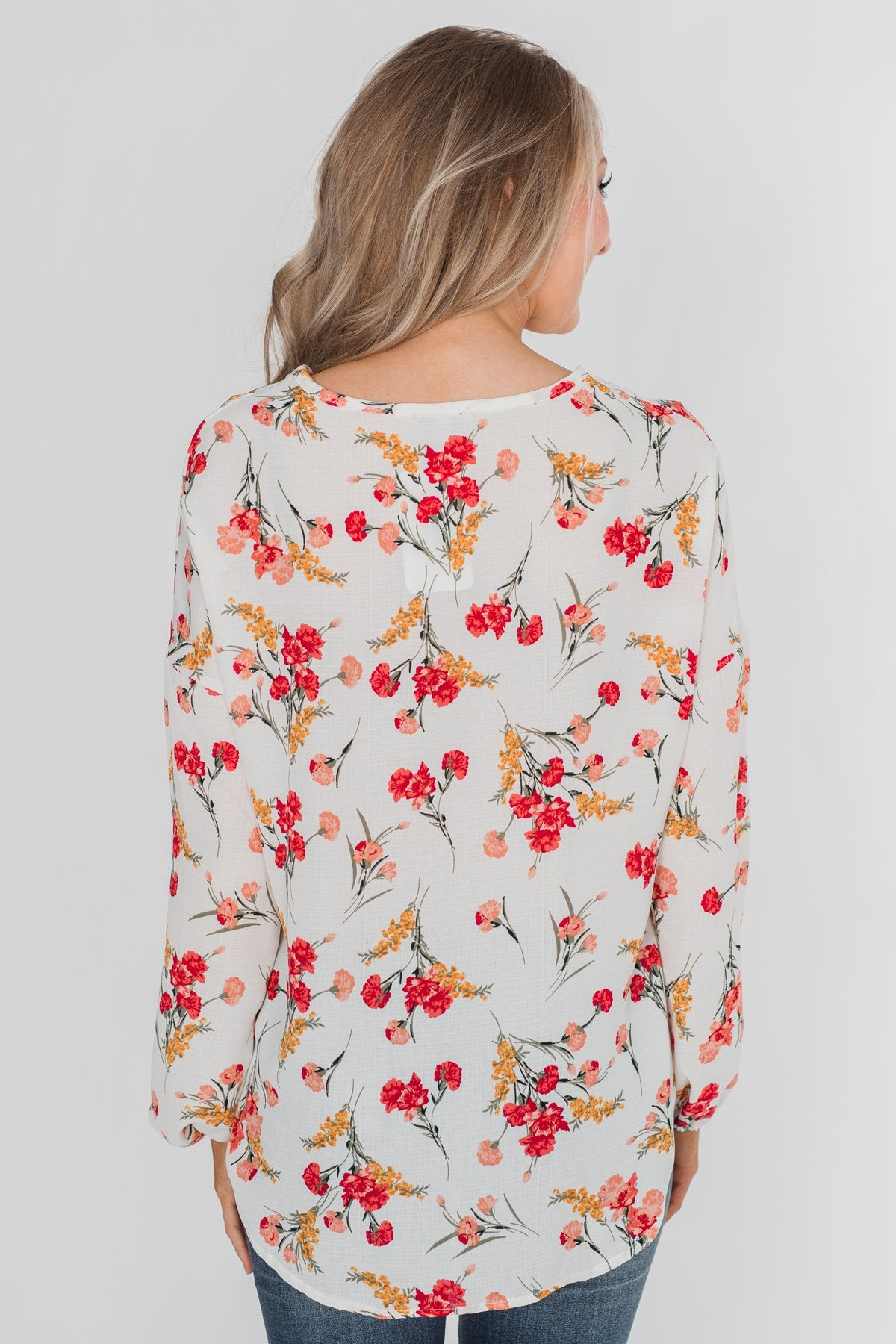 Floral Fantasy Tie Blouse - Off White