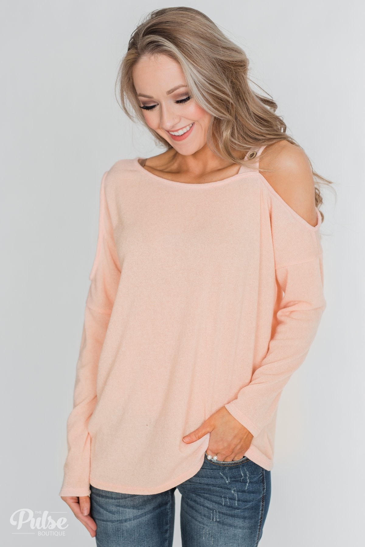 c98629a38ae Sight To See Cold Shoulder Top- Peach – The Pulse Boutique