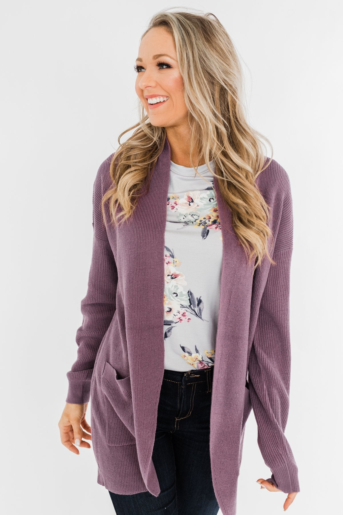 Share The Love Knit Cardigan- Dusty Eggplant
