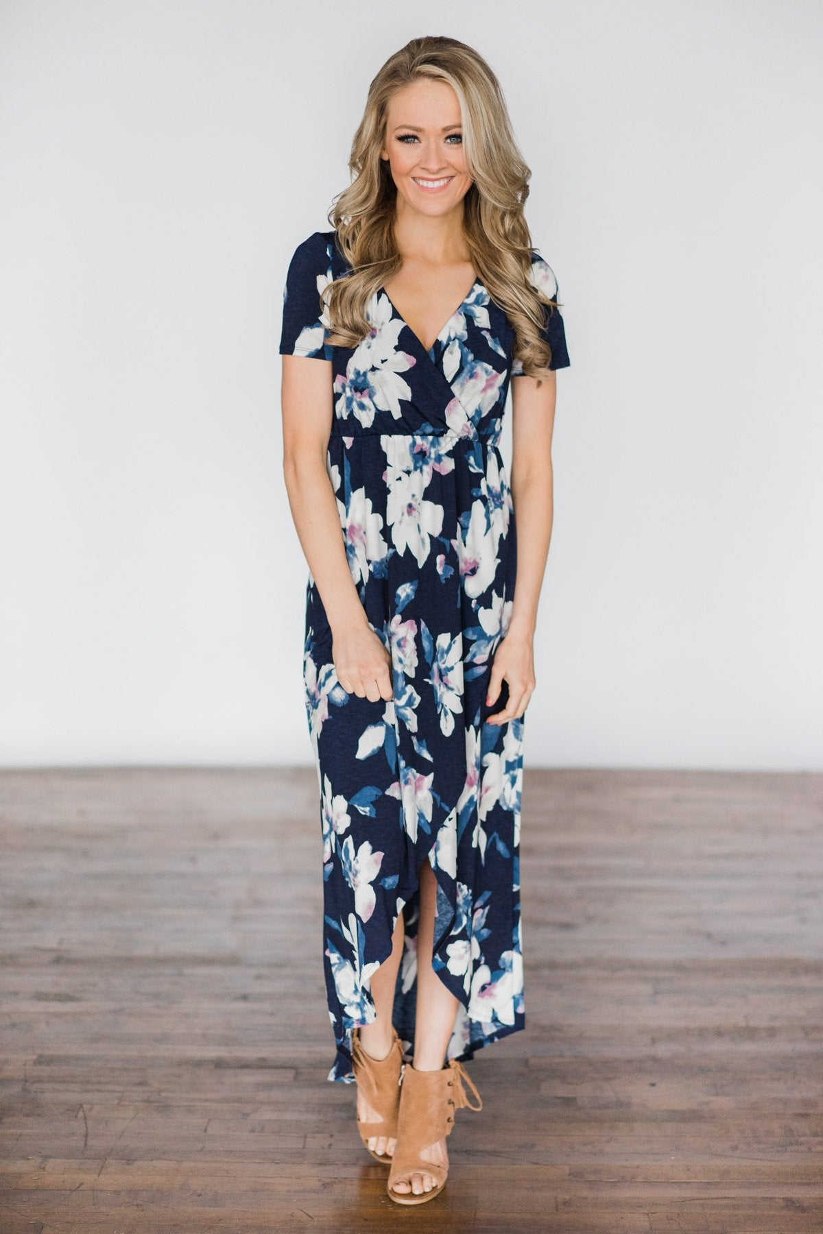 BayDream Believer ~ Navy Floral Maxi Dress