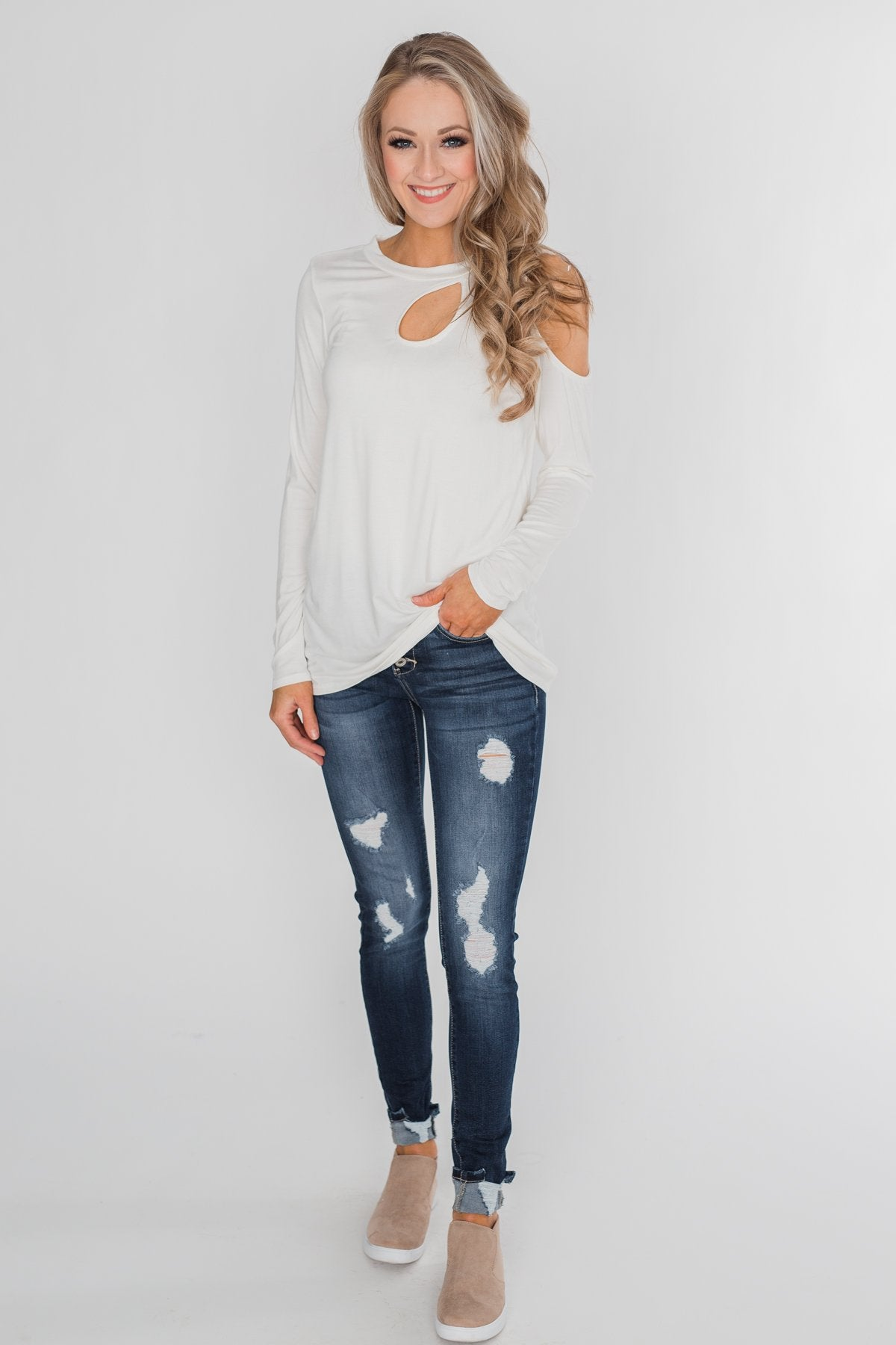 A Little Something Cold Shoulder Top - Ivory