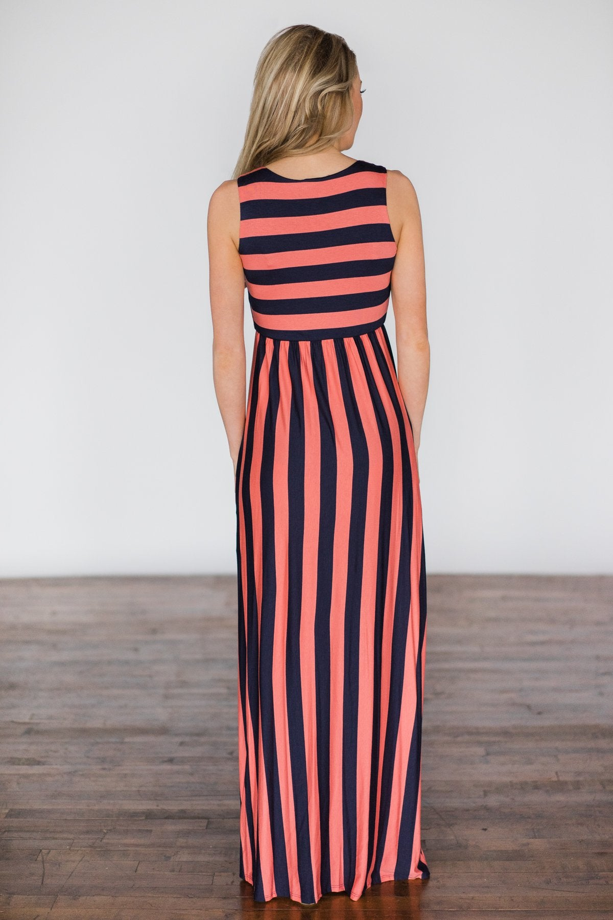 Beach Daze Striped Maxi Dress ~ Navy & Coral