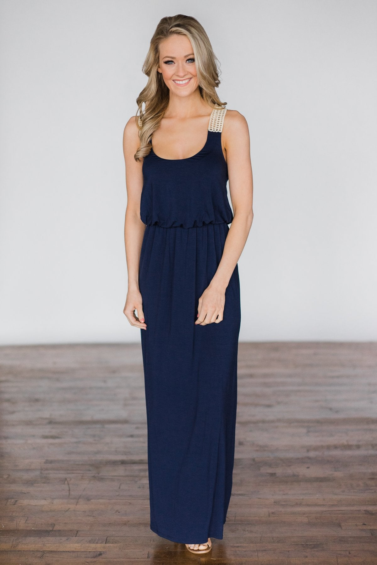 Gone Coastal ~ Navy Crochet Racerback Maxi Dress