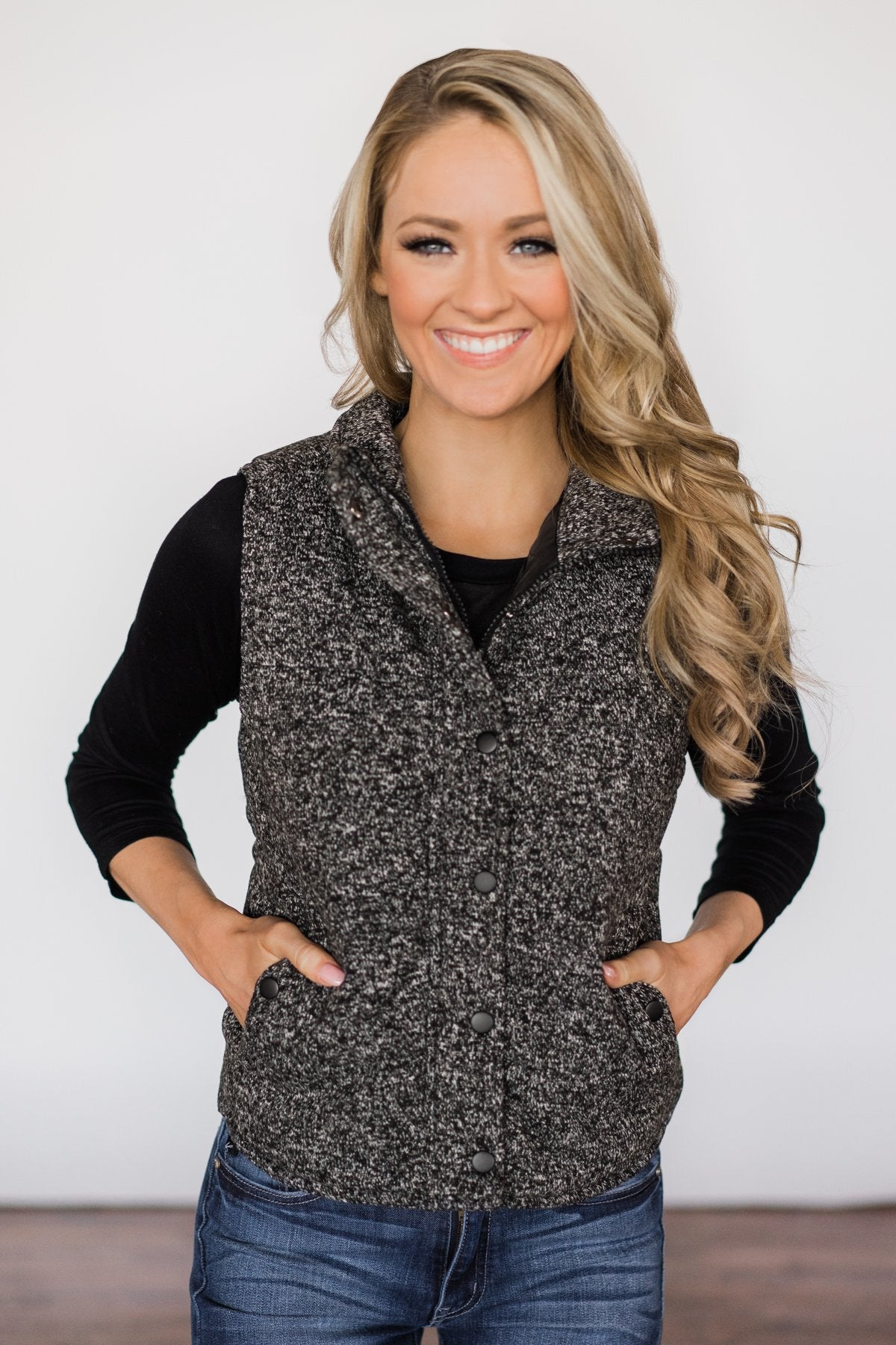 Black Speckled Puffer Vest