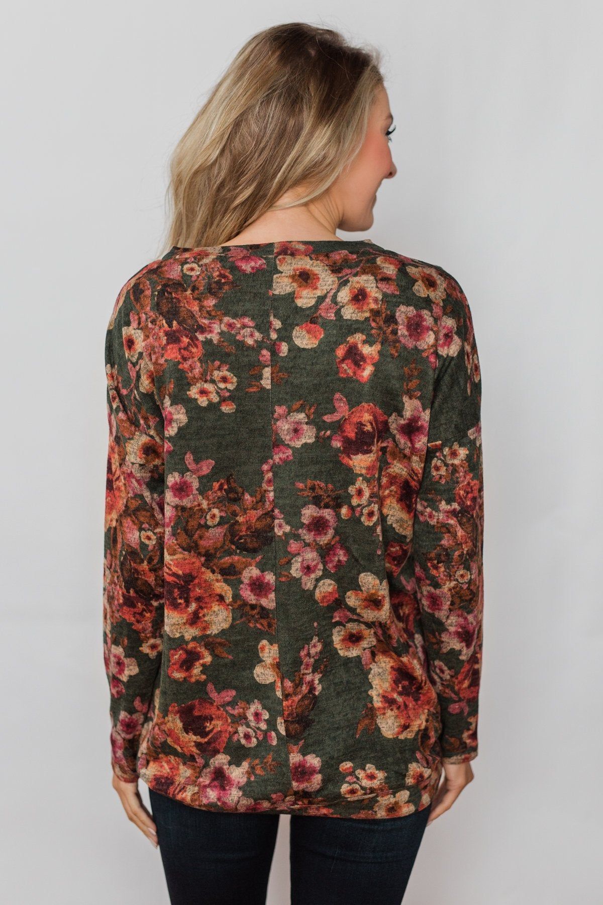 Just For You Floral Pullover Top- Olive