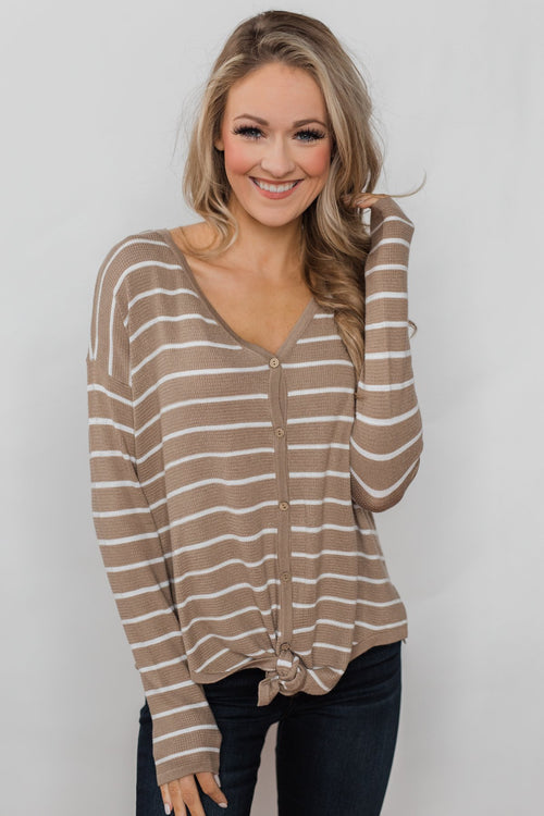 Simple Occasion Striped Button Top- Taupe