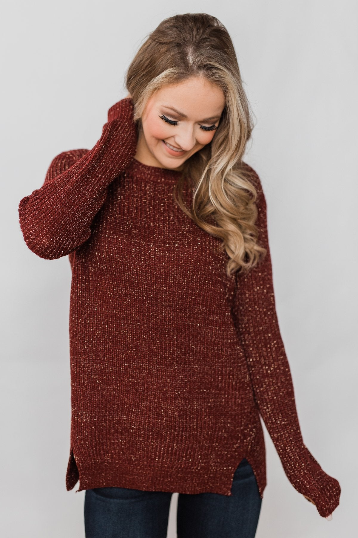Shimmer All Night Long Knitted Sweater- Burgundy