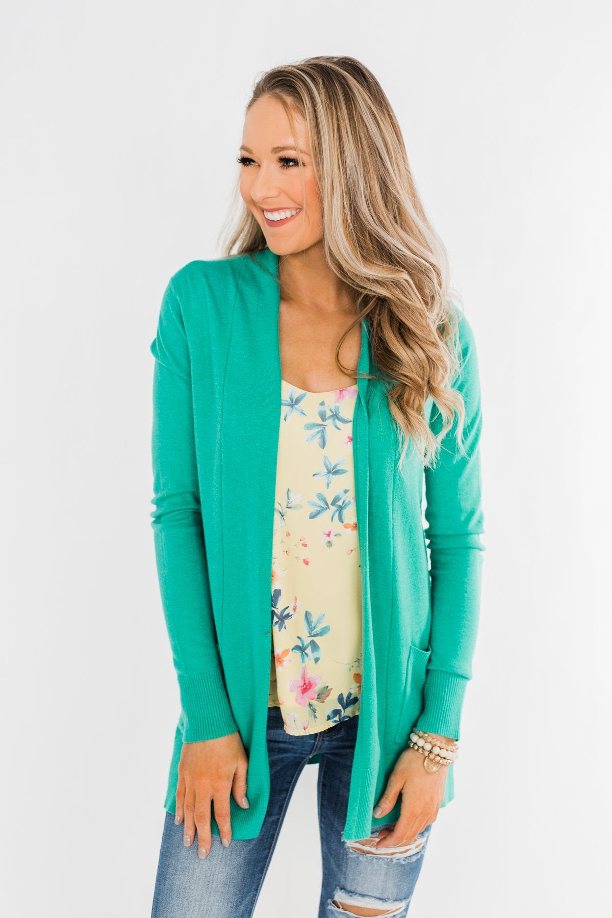 Time To Be Alive Drape Cardigan- Seafoam Green