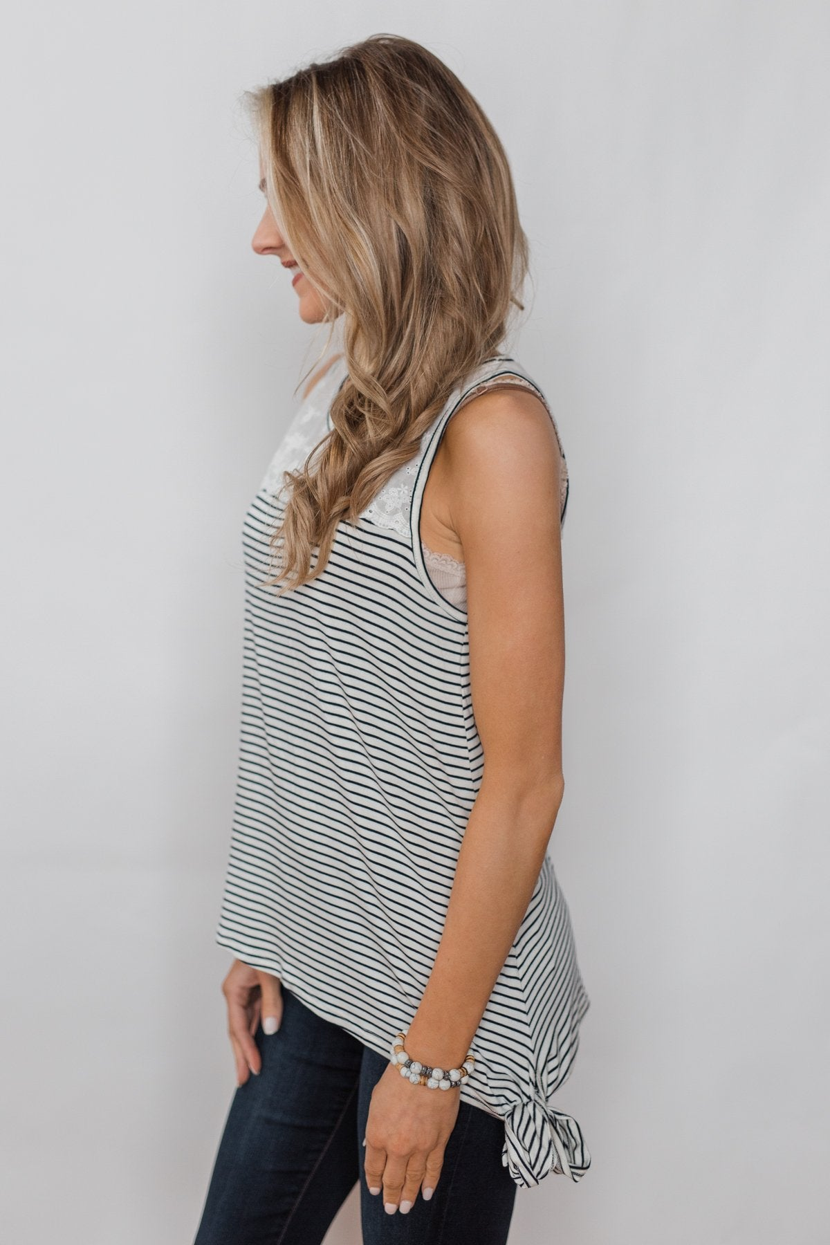 Always More Lace Trimmed Stripe Tank - Ivory & Black