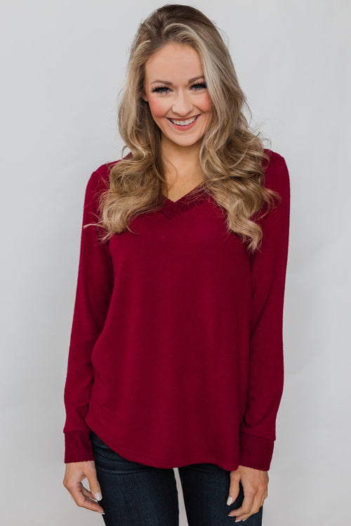 Can't Forget You V-Neck Top- Ruby