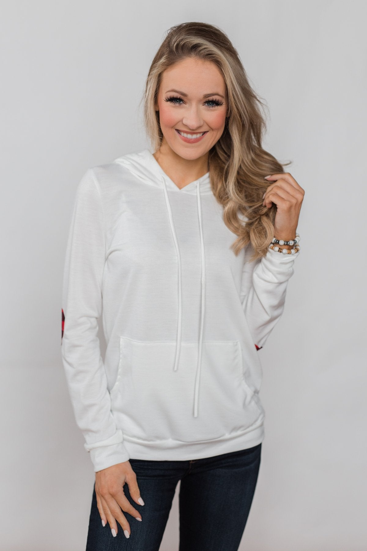 Near to my Heart Elbow Patch Hoodie- Ivory