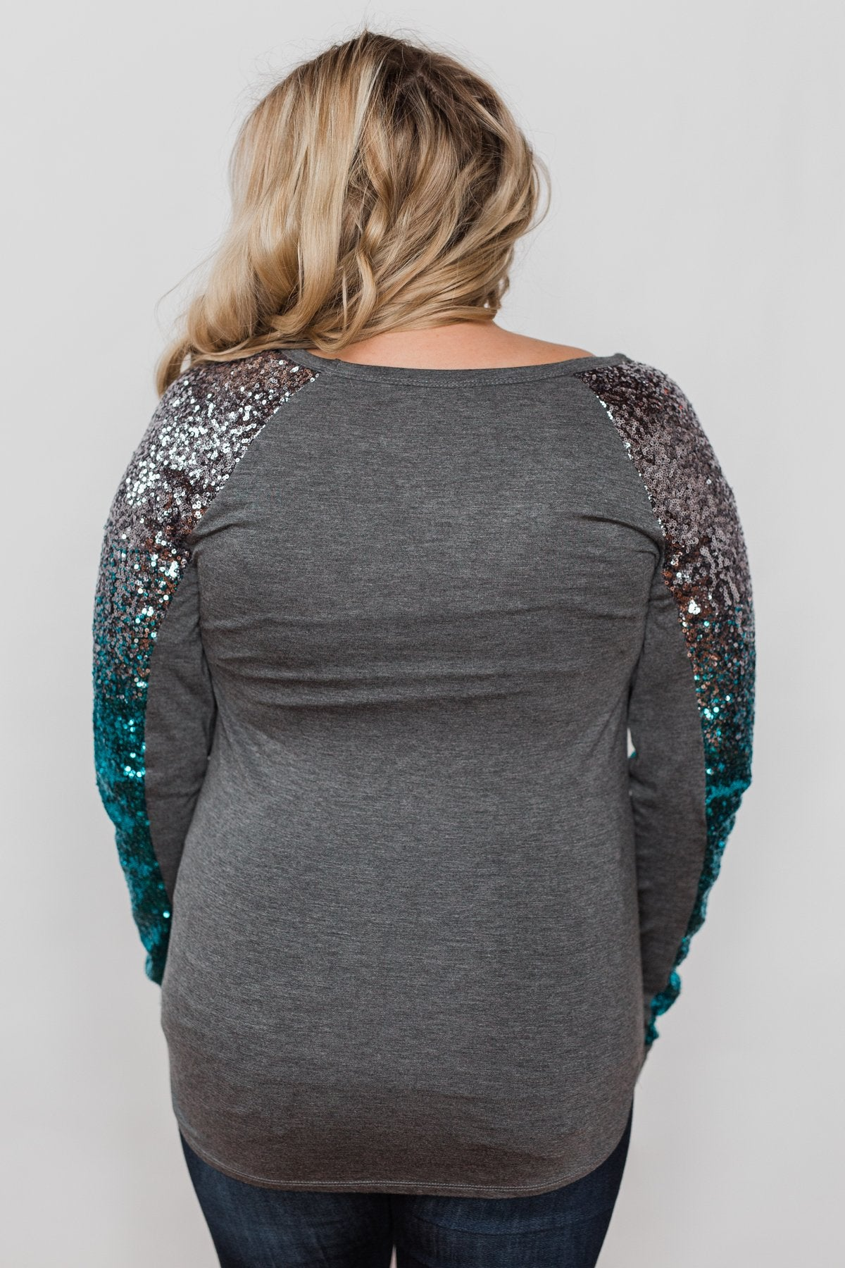 Shine Bright Sequin Top- Charcoal
