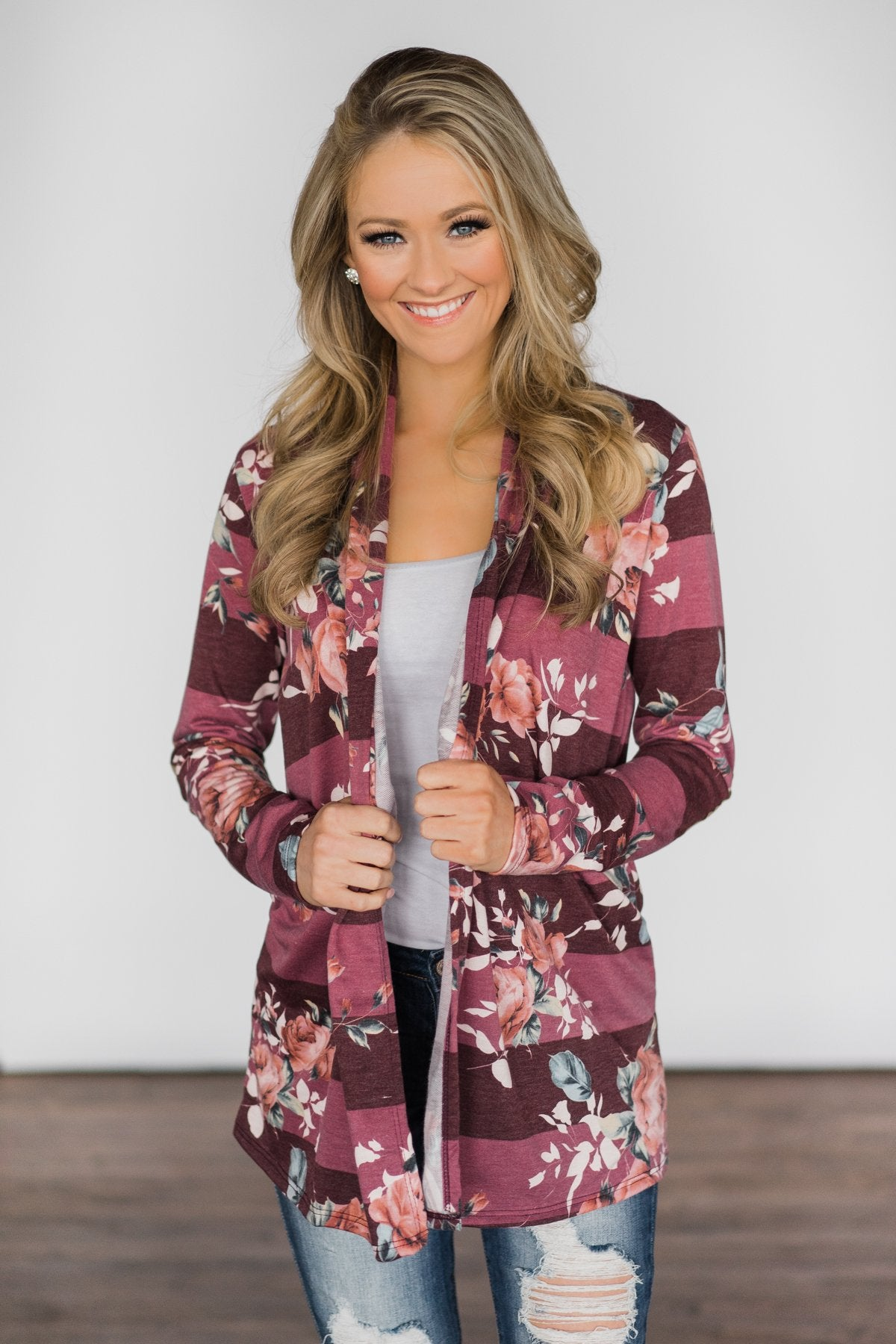 Something You've Got ~ Floral & Stripes Cardigan