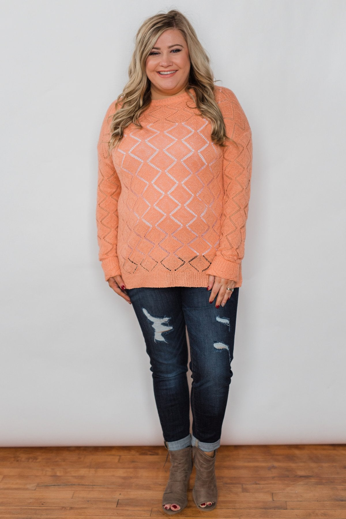 Long Sleeve Pointelle Knitted Sweater- Peachy Orange