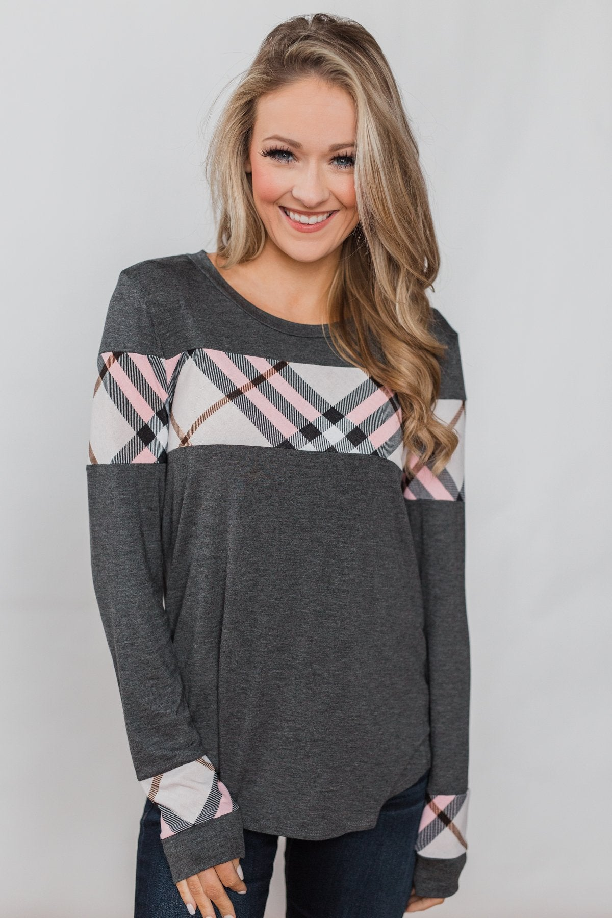 Simple Stripes Long Sleeve Sweater - Slate Blue & Ivory