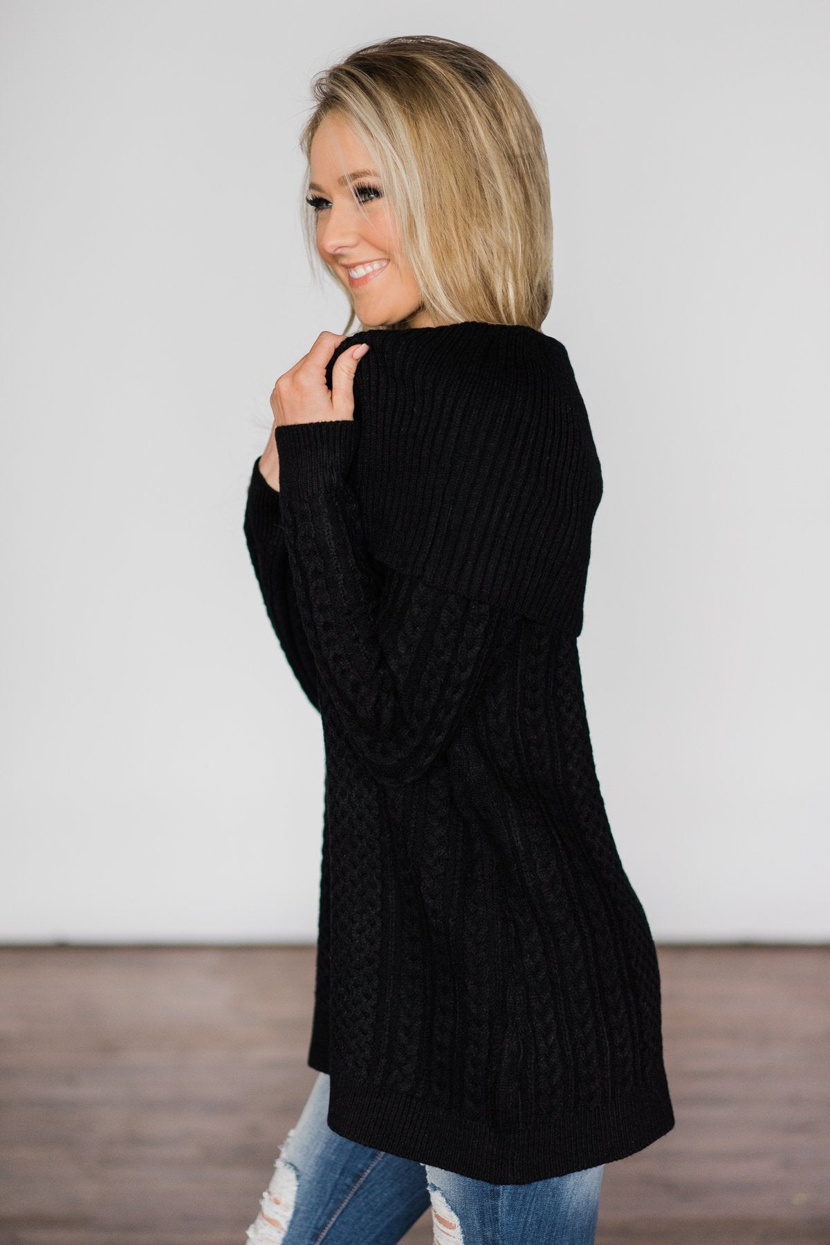 Fold Over Black Sweater