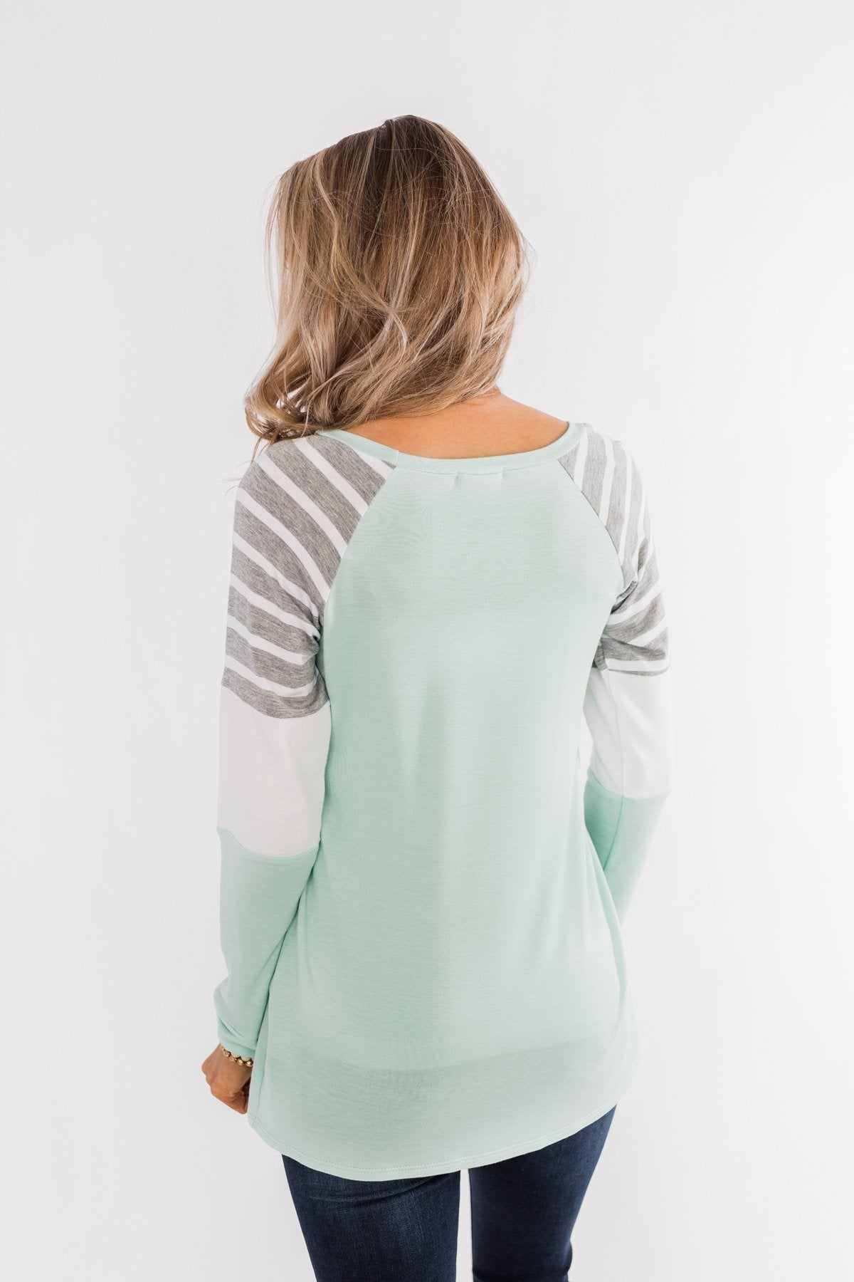 Comfy All Season Color Block Top- Mint, Grey, & Ivory