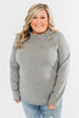 Life Goes On Button Detail Pullover Top- Grey