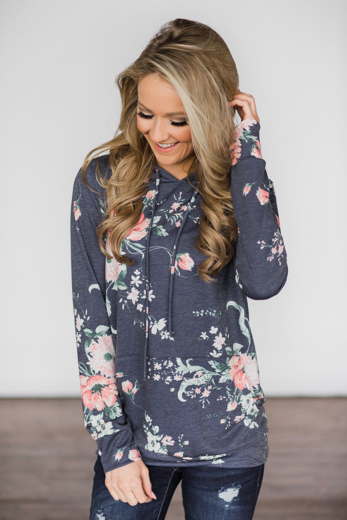 Beautiful Escape Navy Floral Hoodie
