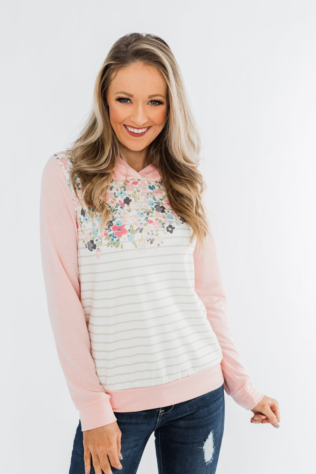 Simple Pleasures Floral & Stripes Hoodie- Light Peach