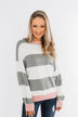 All My Life Striped Sweater- Grey & Pink