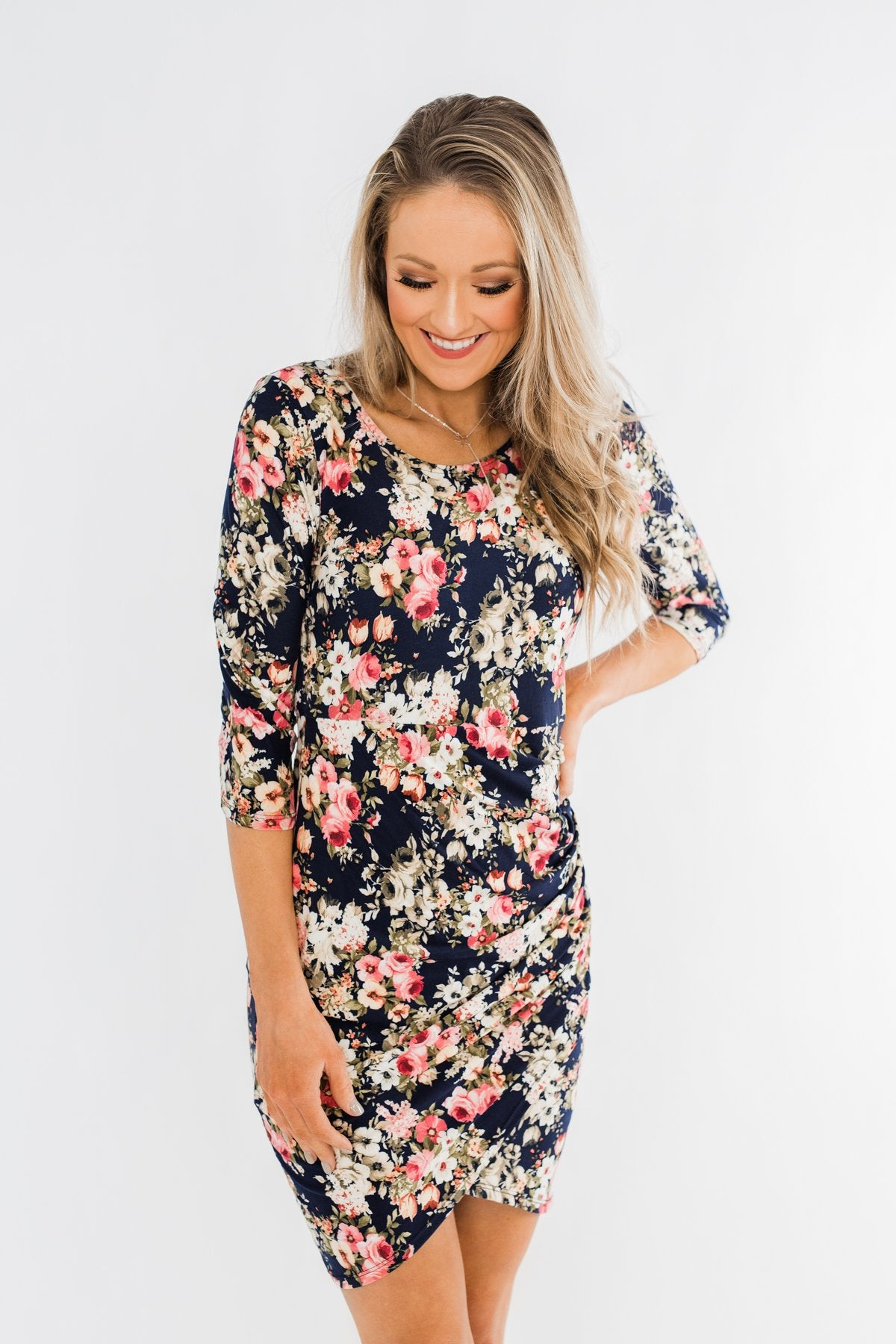 Caught Up In A Romance Floral Dress- Navy