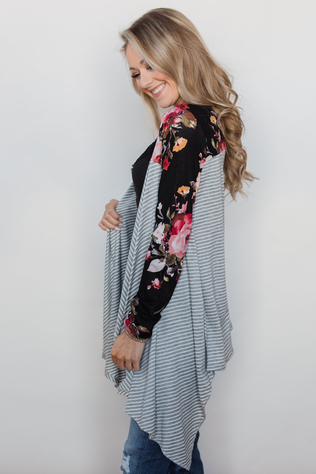 Easy Breeze Floral & Striped Cardigan- Black & Grey