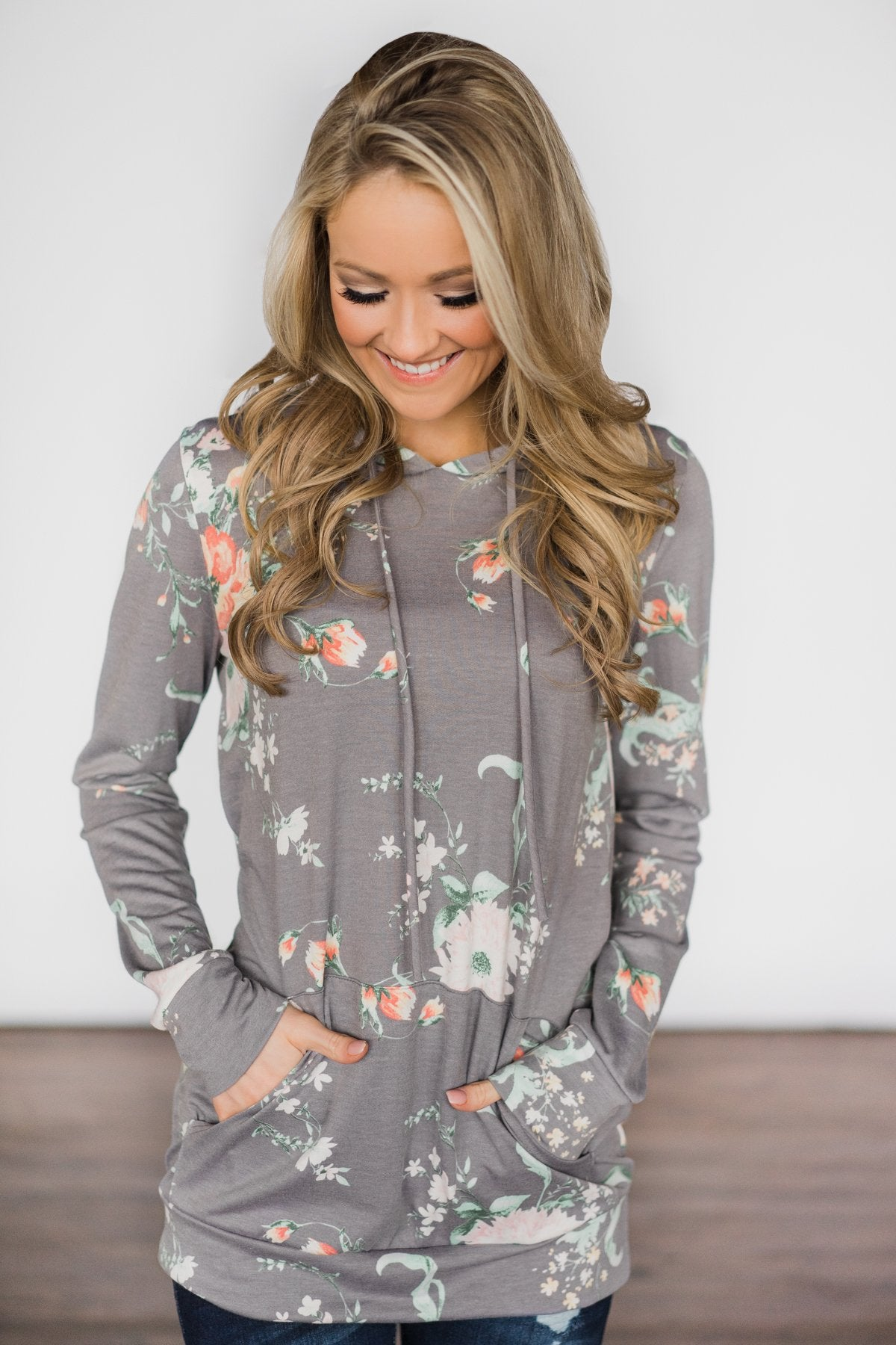 Beautiful Escape Light Grey Floral Hoodie