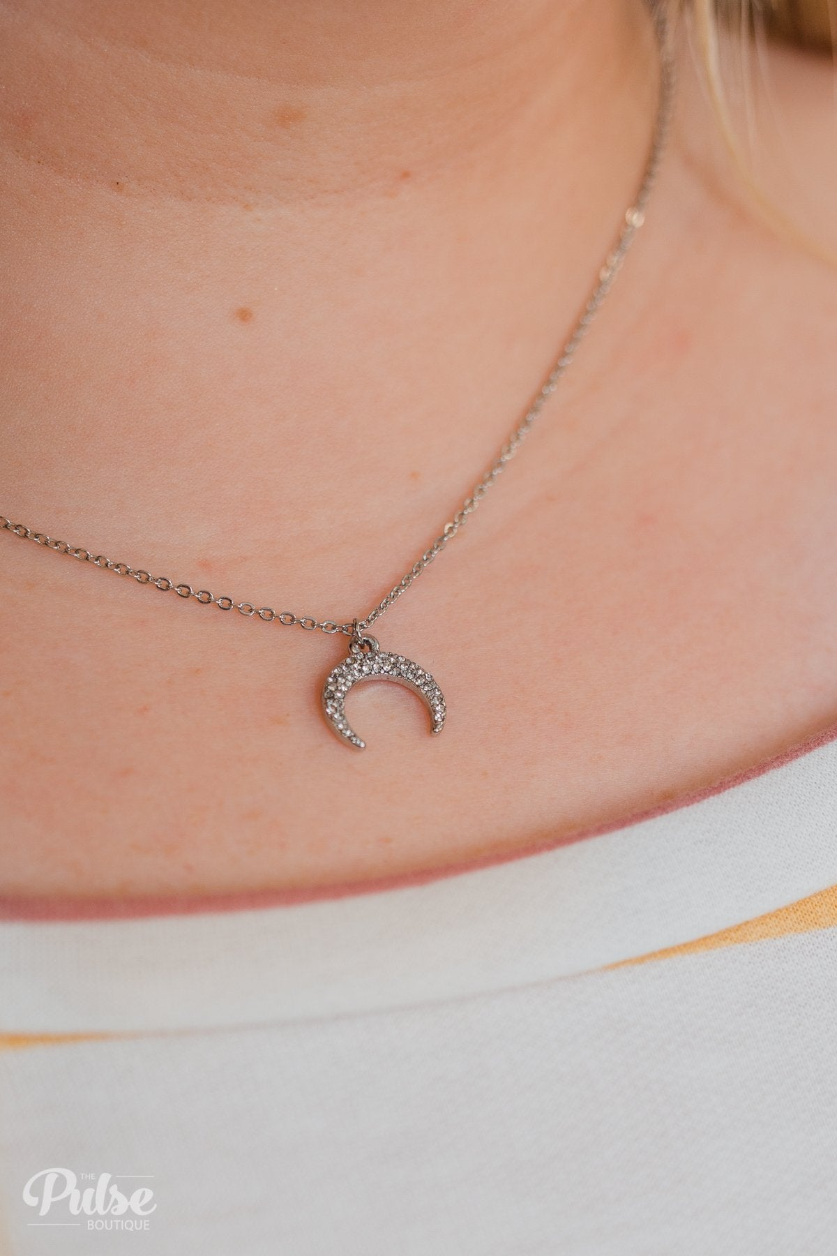 Diamond Studded Crescent Necklace- Silver