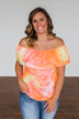 Light Of Every Sunrise Ruffle Top- Neon Orange, Pink, & Yellow