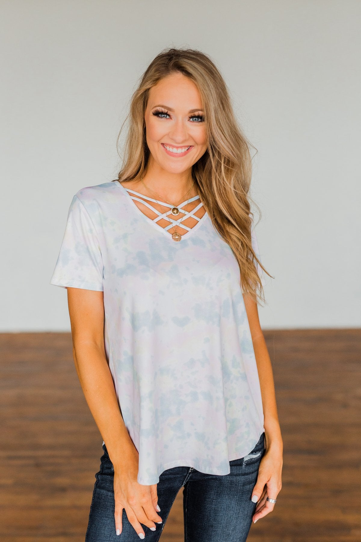 Believe In You Criss Cross Top- Off White, Pink, Yellow, Blue