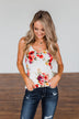 Had My Heart Lightweight Floral Tank Top- Ivory