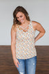 Sunny Smiles Floral Criss-Cross Tank Top- Ivory