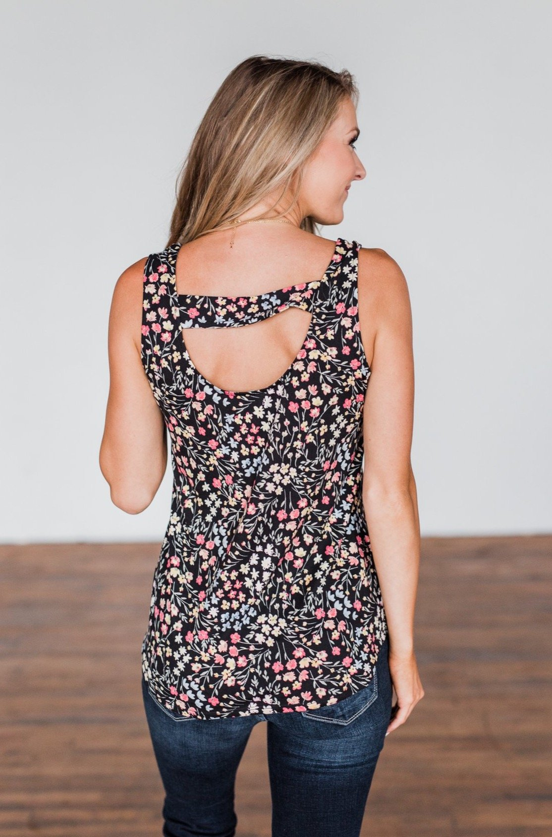 Love To Give Floral Tank Top- Black