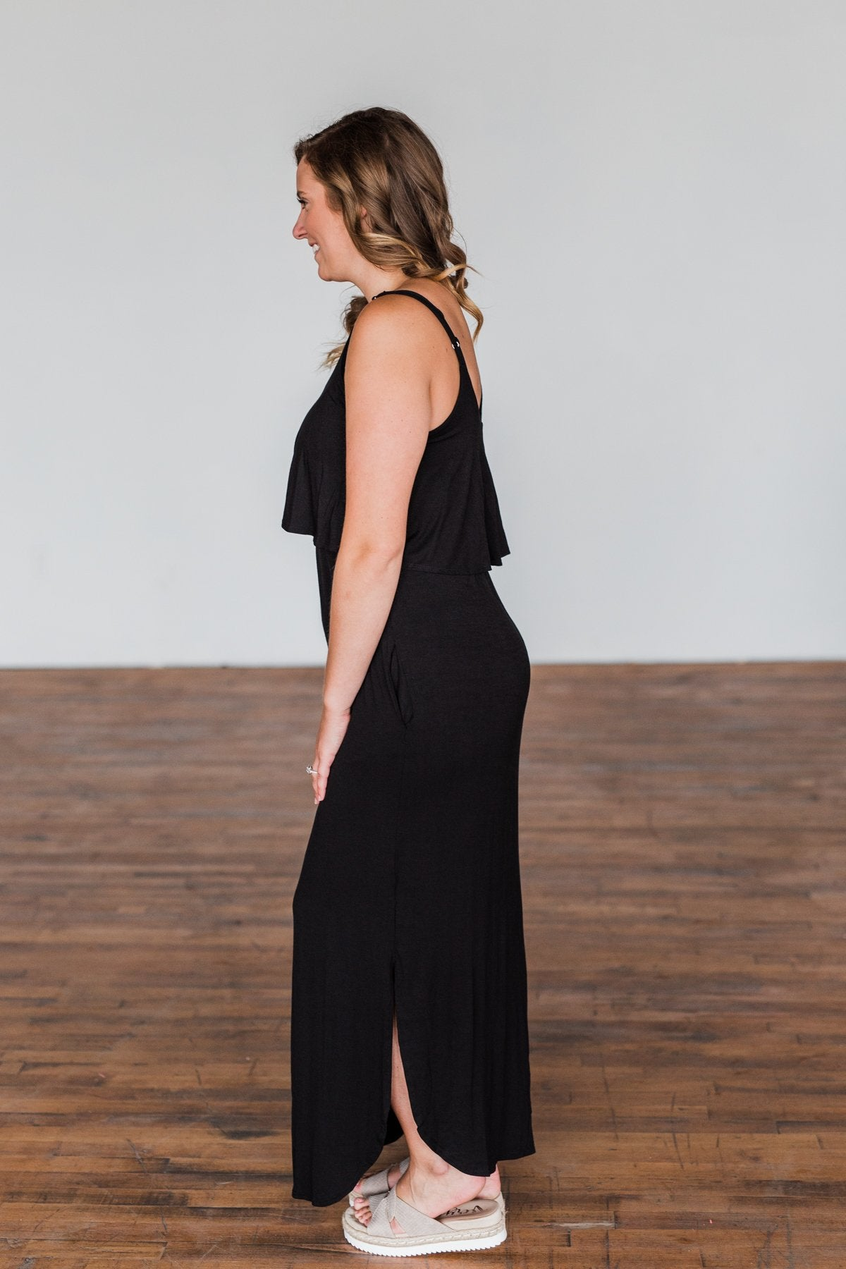Love Connection Ruffle Maxi Dress- Black