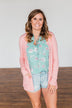 Time To Be Alive Drape Cardigan- Salmon Pink