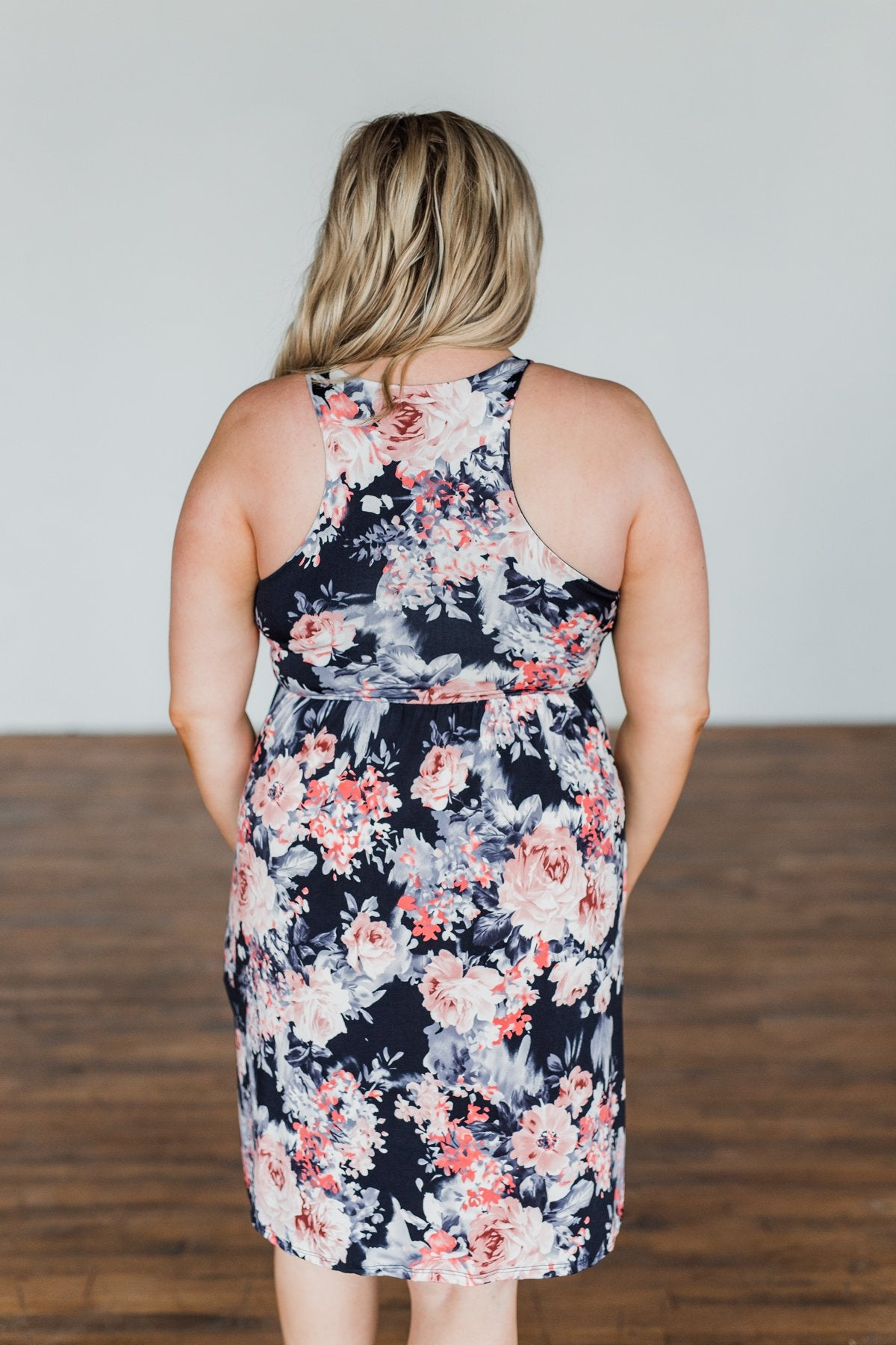 Bloom In The Night Floral Sleeveless Dress- Deep Navy