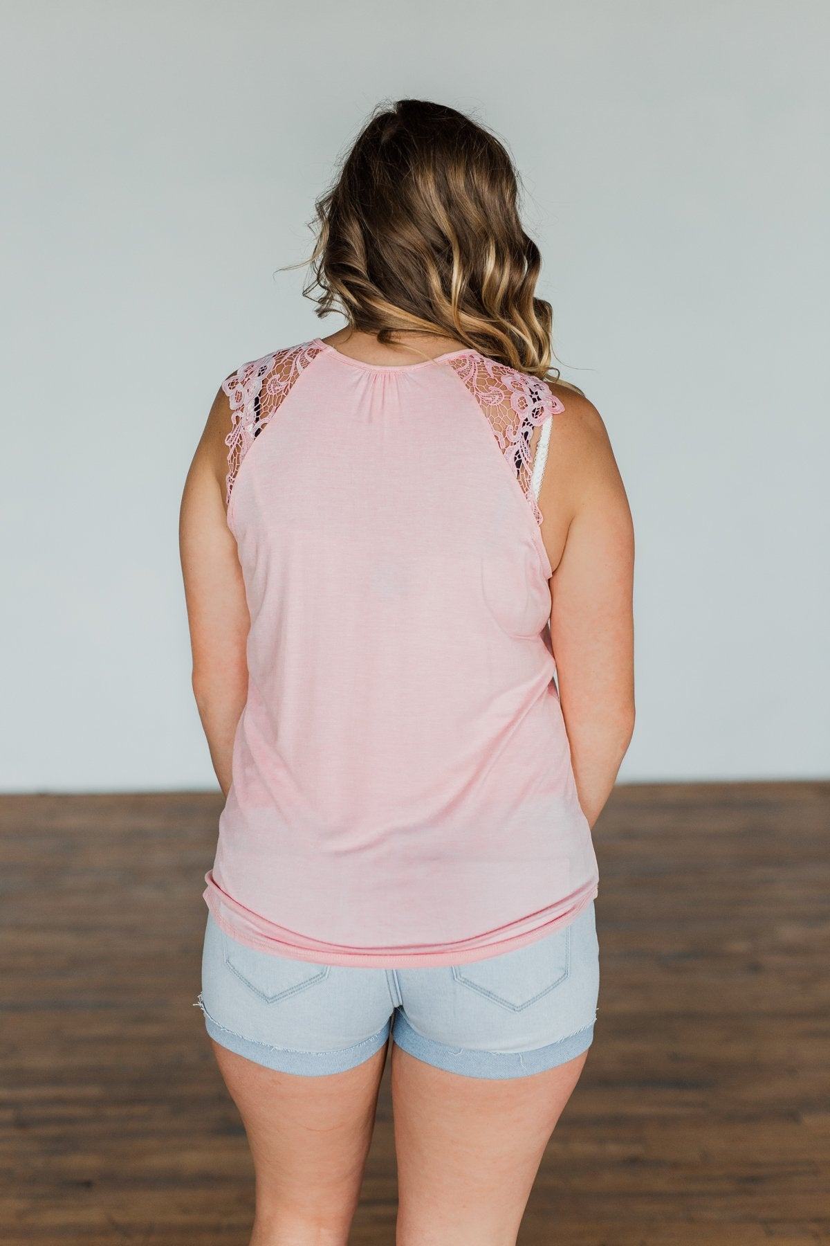 Never Left My Side Lace Sleeve Tank Top- Blush