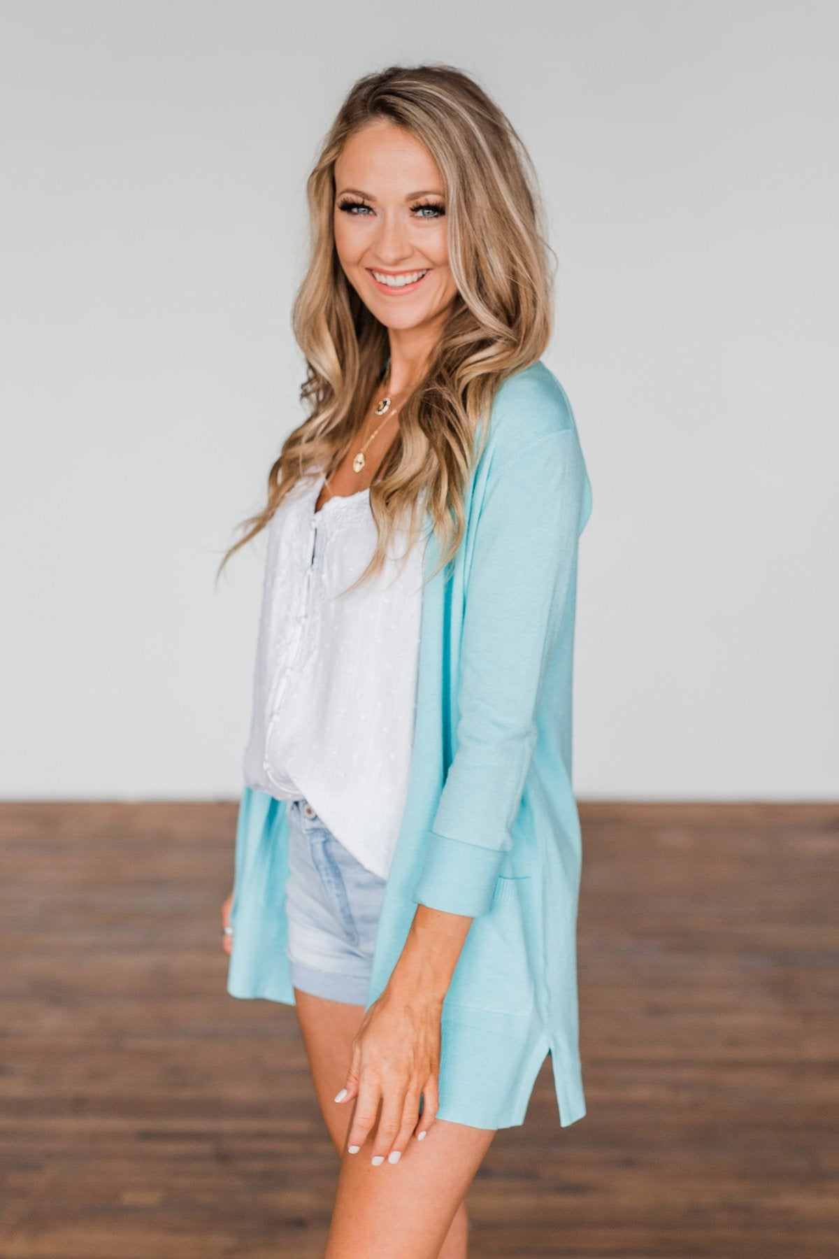 Time To Be Alive Drape Cardigan- Blue