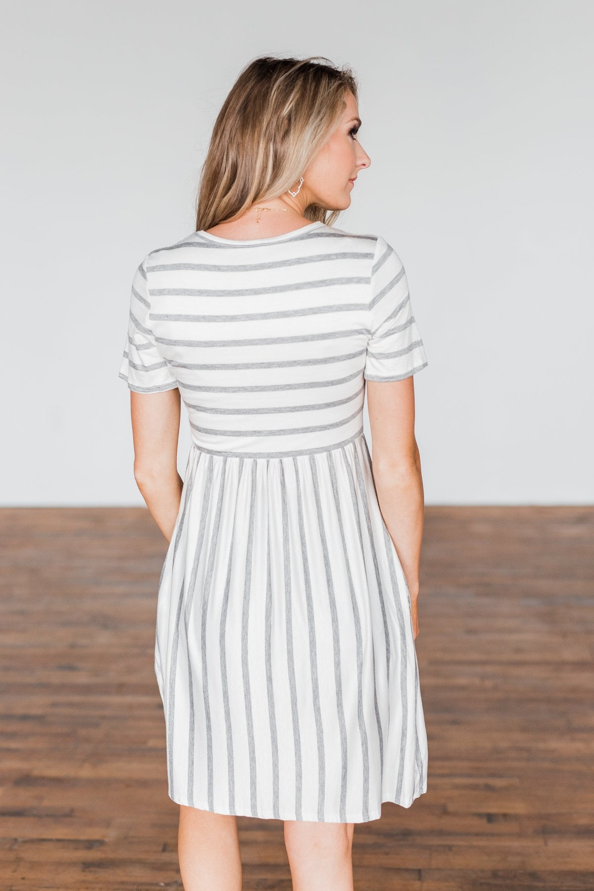 Wanted You To Know Striped Dress- Ivory & Grey
