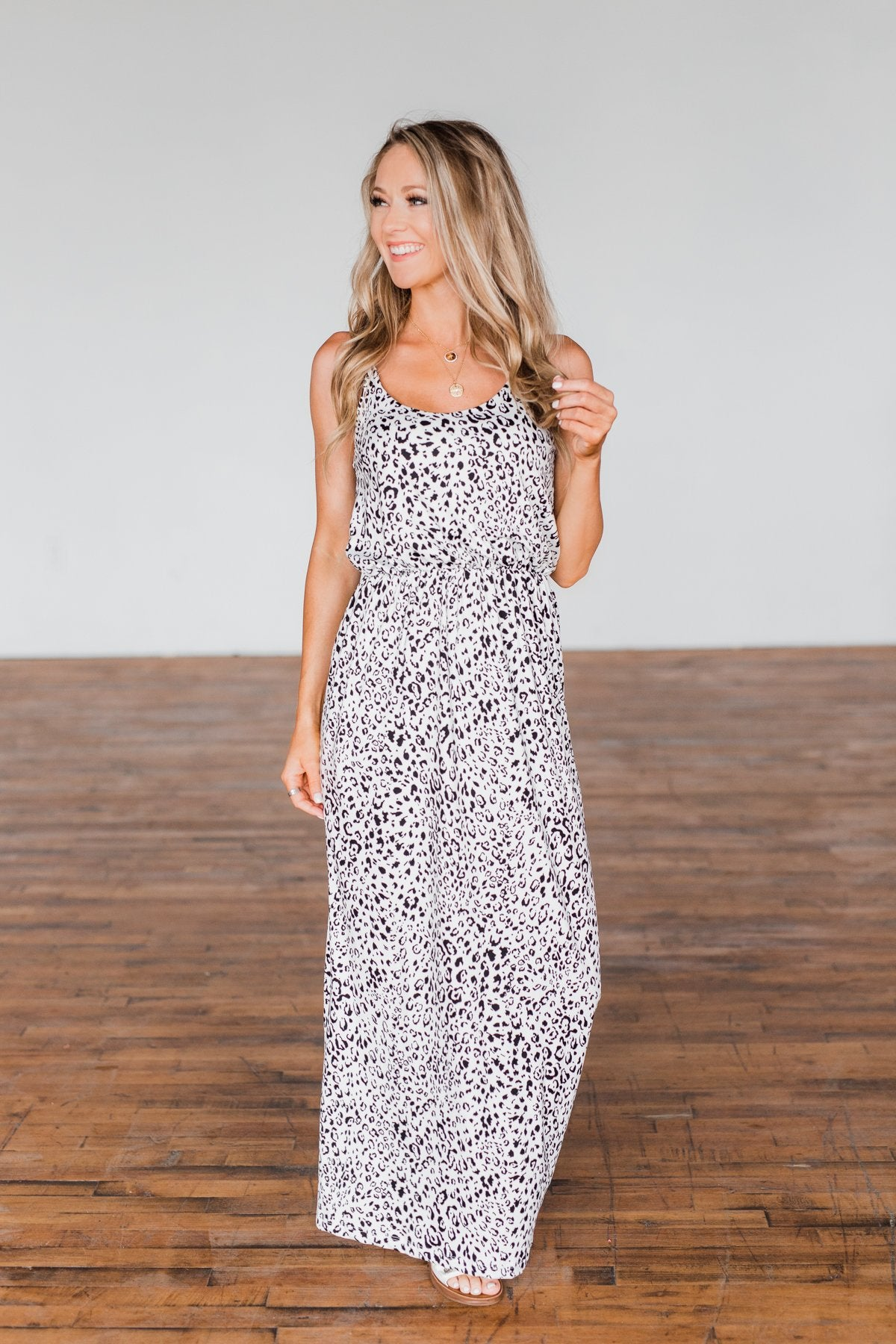 Begin Your Journey Leopard Maxi Dress- Off White
