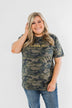 """Amen."" Glitter Graphic Top- Vintage Camo"