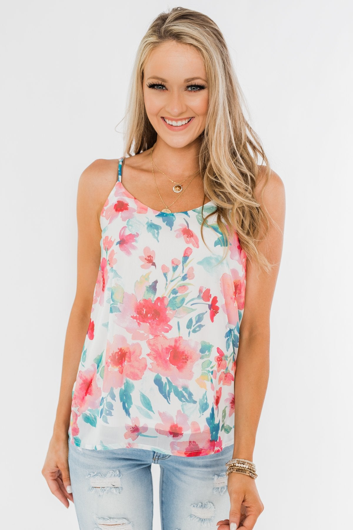 Pure Bliss Floral Shift Tank- Ivory