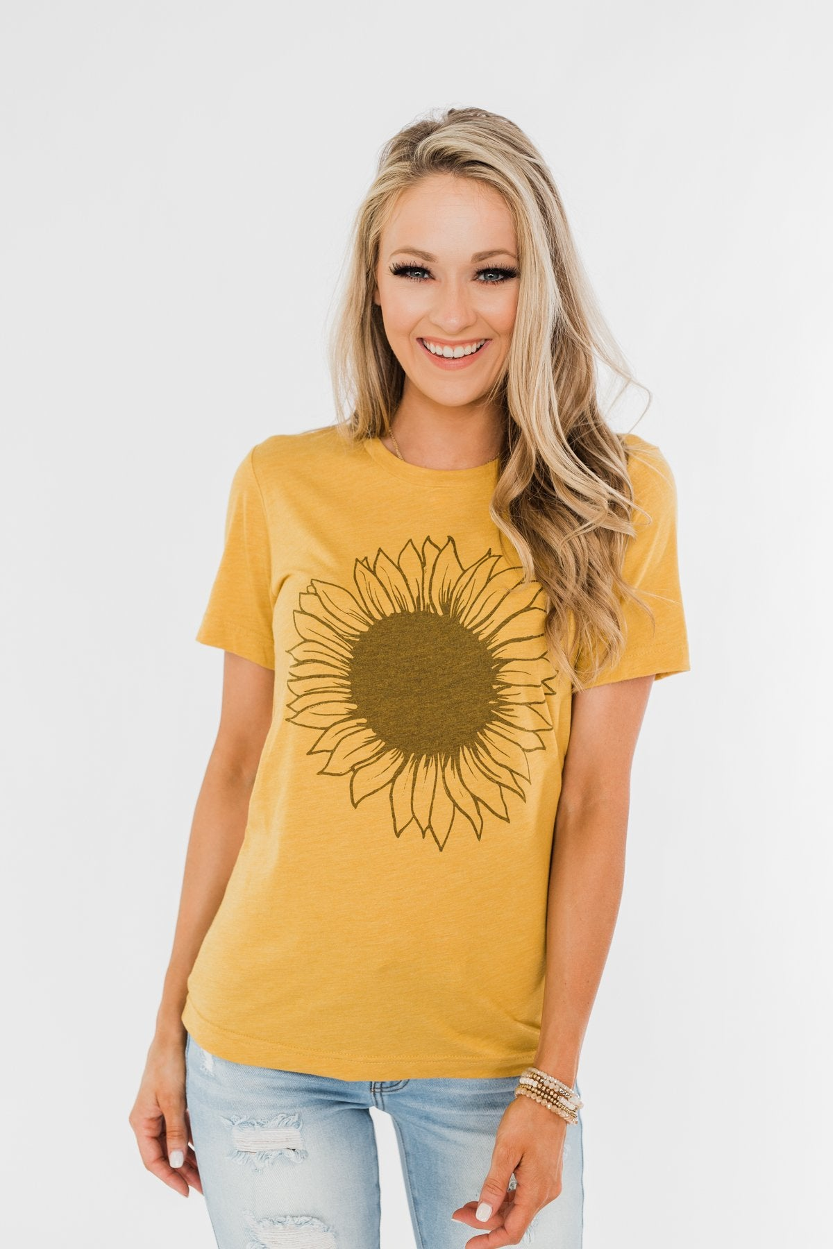 Simple Sunflower Graphic Tee- Yellow