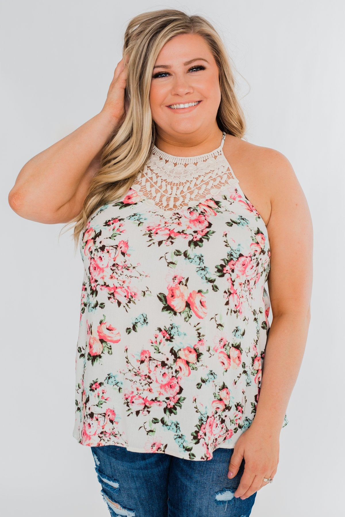 Always & Forever Floral Crochet Tank Top- Ivory