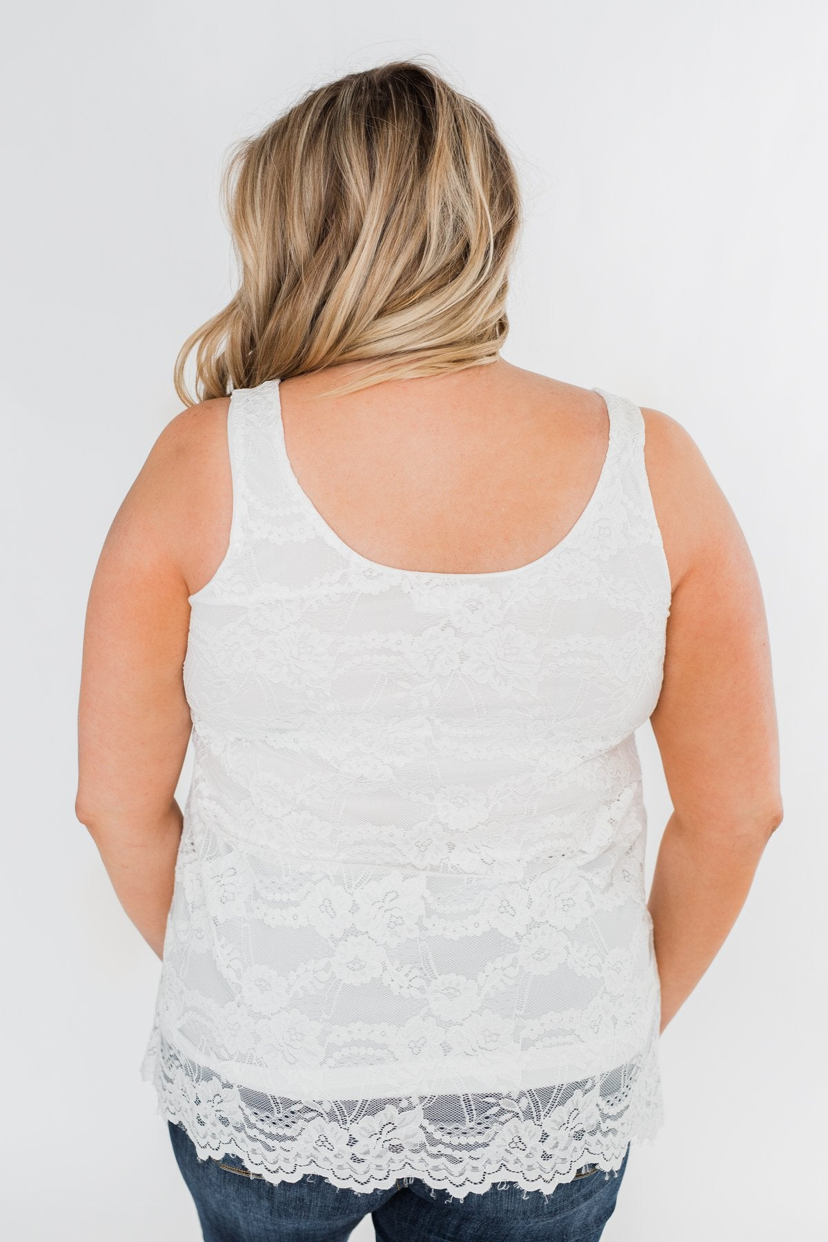 Perfect Moments Lace Tank Top- White