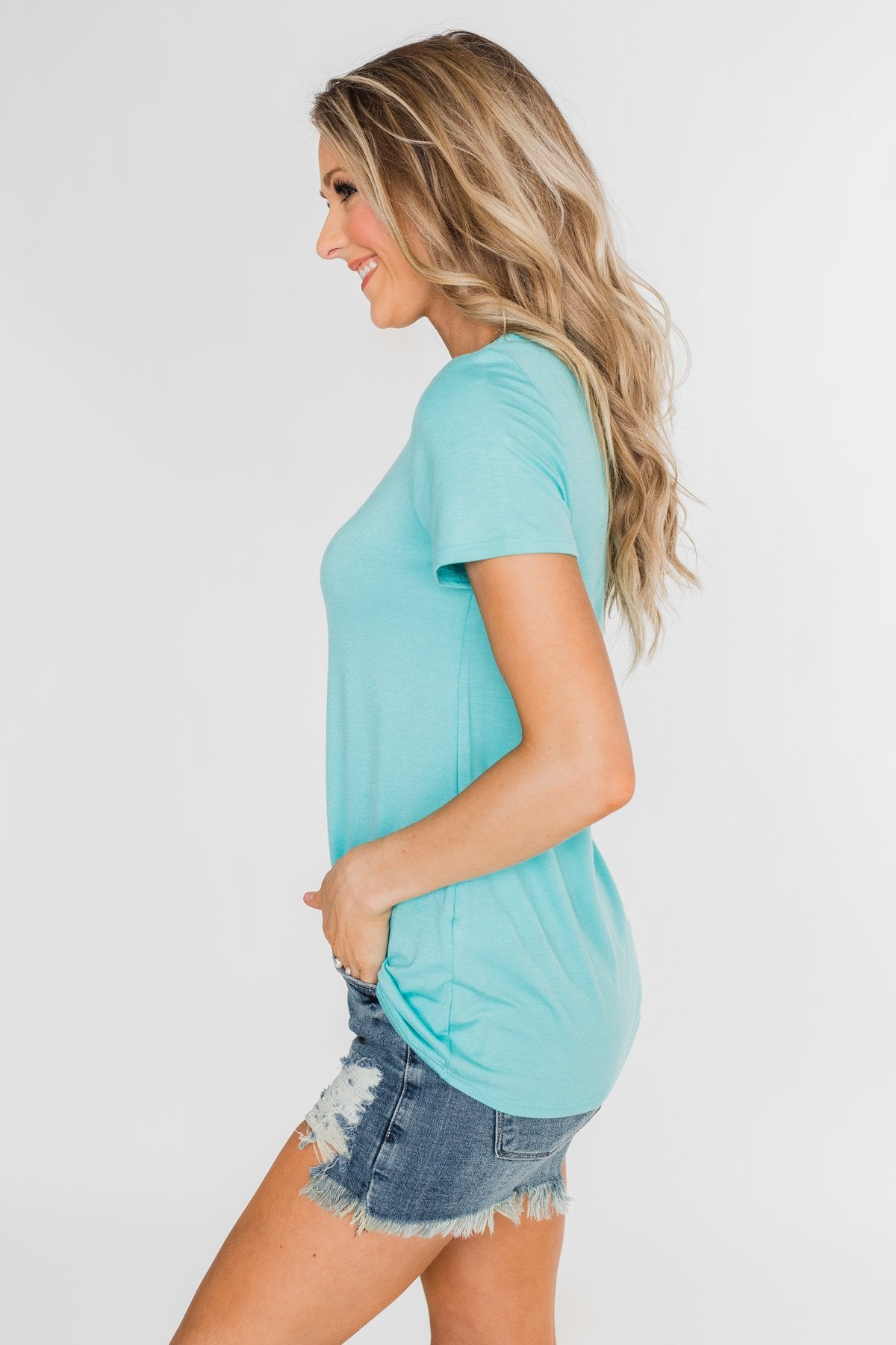 Meet Me Here Short Sleeve Top- Aqua